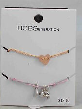 BCBG Generation Rose Gold Heart Pink Thread Charm Friendship Bracelet 2 PC Set