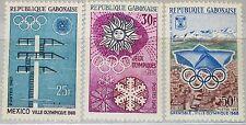 GABON GABUN 1967 270-72 213-15 Olympics 1968 Mexico Grenoble Ice Skating MNH
