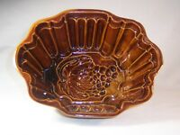 """Stoneware Pudding Food Mold Large Grapes  9"""" x 7"""" x 4.5"""" Brown Pottery"""