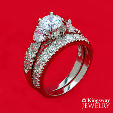 WEDDING RINGS 2 pc Engagement SET | AAA CZ PREMIUM 925 Sterling Silver