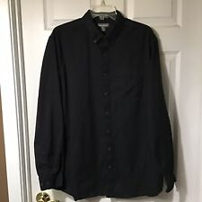 EDDIE BAUER MENS LONG SLEEVE BUTTON RELAX FIT BLACK SHIRT, SIZE LARGE TALL, LT