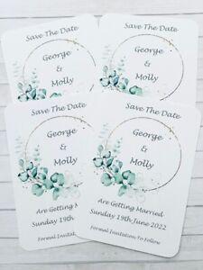 Personalised Eucalyptus Wedding Save the Date Cards Pks of 10