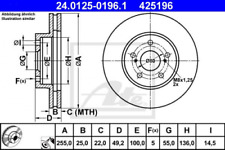 2x Bremsscheibe für Bremsanlage Vorderachse ATE 24.0125-0196.1