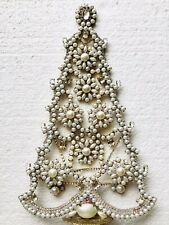 RHINESTONE CHRISTMAS TREE STAND CZECH VINTAGE ESTATE JEWELLERY GABLONZ PEARL