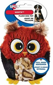 """Spot Ethical 3"""" Plush Owl Hoots Hoot small Dog Toy Play Toss Fetch squeaker red"""