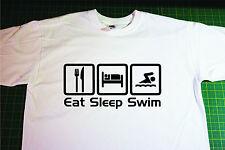 Eat, Sleep, Swim T-Shirt. In White. Size Large. Swimming, Open water, Triathlon