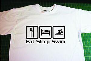 Eat, Sleep, Swim T-Shirt. In White. Size Small. Swimming, Open water, Triathlon