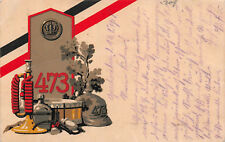 Inft. Regt. 473 Regimentspostkarte Pickelhaube, Horn, Schulterklappe 1918