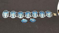 Vintage Blue enamel & Sterling silver Hindu God Mekkala set bracelet & earrings