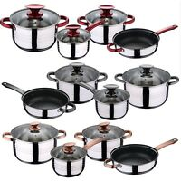 7 Pcs Induction Hob Stainless Steel Saucepan Casserole Pot Cookware Dining Set