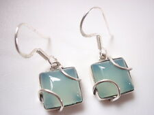Chalcedony Caged Squares 925 Sterling Silver Dangle Earrings Corona Sun Jewelry
