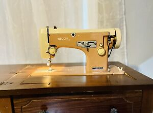 Vintage Necchi Pink 513 Lelia Sewing Machine Table Manual Acc. Box (Tested Runs)