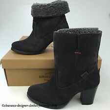 LEVIS SANCHO HEEL FUR BOOTS WOMENS ROLL UP GREY SUEDE PULL ON BOOTS RRP £120