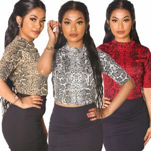 New UK Womens Ladies Snake Skin Top | Red | Mocha | White