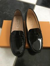 NIB 100% AUTH Tod's Gommino Black Patent Leather Driving Loafers $495 Sz 36.5