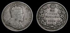 Canada 1905 Silver 25 Twenty-Five Cent Piece King Edward VII F-12