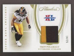2020 Panini Flawless Super Bowl XL Troy Polamalu Patch 14/25 Pittsburgh Steelers