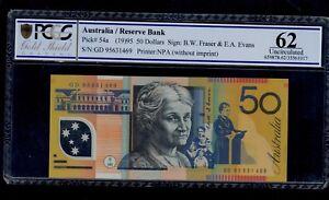 AUSTRALIA 50  DOLLARS ( 1995  ) GD95  PICK  # 54a PCGS 62 UNC.