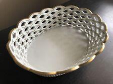 Fine Vintage French German Porcelain Gilt Woven Reticulated Fruit Basket Art