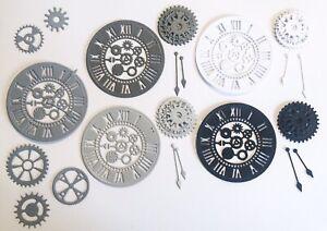 New - Steampunk Clock & Gear Die Cuts - Monochrome Mix (pack Of 5)
