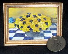 Blue & Yellow 1:12 MiniatureOriginal Art Flower Print Painting Floral