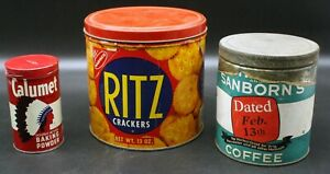 Lot of 3 Vintage Ritz Crackers Tin Can Calumet Powder Chase and Sanborn Coffee