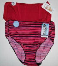 2 Jockey Hip Brief Panty Set 1372 Logo No Line Tactel Solid Red Multicolor 8 XL