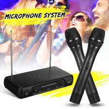 2Ch UHF Dual Wireless Microphone System Handheld Cordless Mic LCD Kareoke