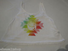 Volcom Juniors Womens XL cropped tank top t shirt white 010 Crescent Crop NWT^^