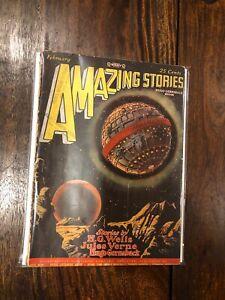 Amazing Stories Magazine February 1928 H G Wells Ed. Frank Paul Cover VINTAGE!!!