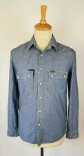 L518 MENS BARBOUR BADWATER STEVE MCQUEEN COLLECTION BLUE DENIM SHIRT- SMALL