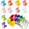 Girls Kids Hair Hoop Band Solid Bow Knot Headband Headwear Hairband Accessories