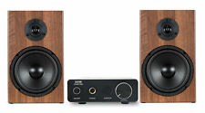 Design Mini Stereo Anlage HiFi Lautsprecher Kompakt Alu Verstärker Set 80W braun