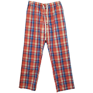 Mens Cotton Lounge Pants with Pockets (Large) Coral Plaid G7057