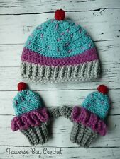 Toddler crochet cupcake mittens hat set PATTERN ONLY
