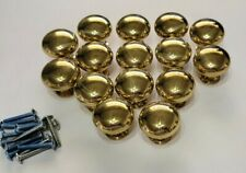 "Vtg Lot of 15 Drawer Pulls Knobs Brass 1 1/4""  With Screws"