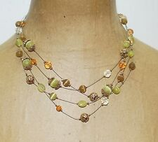 "Lia Sophia Layered Green Taupe Cateye Glass Floating Beads Gold Tone19"" Necklace"