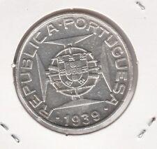 SAINT THOMAS & PRINCE / Portugal 10 ESCUDOS silver .835 1939 aXF  KM 7 rare