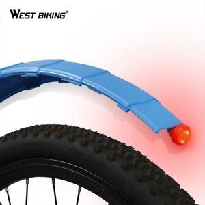 WEST BIKING Telescopic Folding Bike Fenders+Taillight Quick Release MTB Mudguard