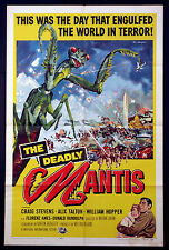 THE DEADLY MANTIS GIANT INSECT SCIENCE FICTION KEN SAWYER ART 1957 1-SHEET