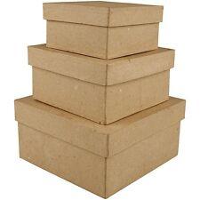 Papel Maché Box Set De 3-pequeñas medianas, grandes-Cartón Plain Decorar Regalo