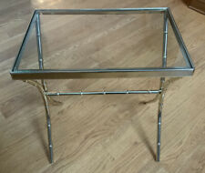 Vintage Mid-Century MCM Hollywood Regency Faux Bamboo Brass+Glass Side/End Table