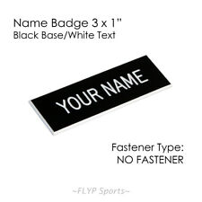 "Name Badge Tag Plate Black/White NO FASTENER 3x1"" Personalised Engraved Namep..."
