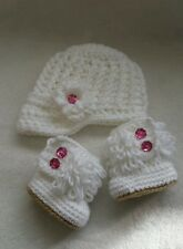 Newborn Baby Girl Fringe Boot Booties and Brim Hat Crochet Gift Knit Outfit