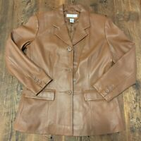 Preston & York Sz Medium Petite Brown Soft Lamb Skin Leather Button Jacket Coat