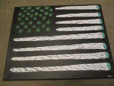 """Acrylic Painting-""""Weed the People""""-Large 16 x 20 Flag theme Marijuana"""