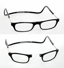 +3 Black Magnetic Click Reading Glasses Snap Front Close Neck Hanger Loop +3.00
