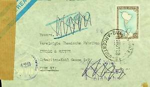 ARGENTINA 1951 MAP 1p ON CENSOR PASSED AIRMAIL COVER TO WIEN AUSTRIA