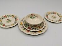 Hand Painted Royal Doulton STRATFORD Floral Footed Bowl & Plates (see details)
