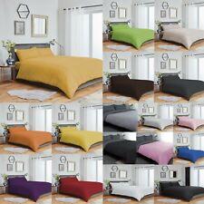 Plain Duvet Cover & Pillowcase Bedding Set Reversible or Plain Fitted Sheet
